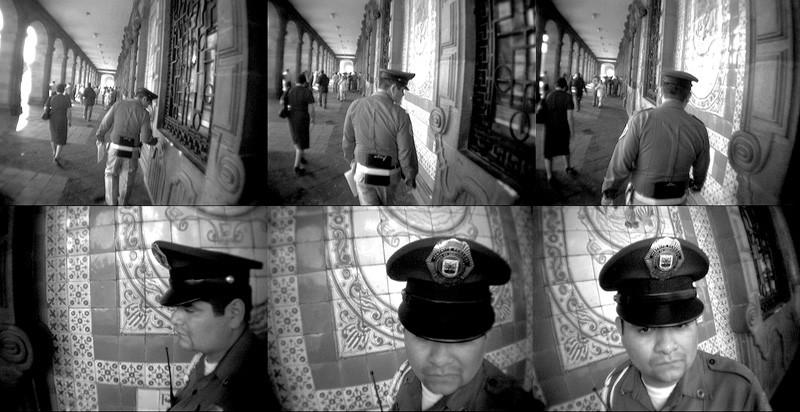 Emmanuelle Léonard, Guardia, resguárdeme, 2005, 5 projections simultanées, images tirées de l'installation vidéo. © Emmanuelle Léonard