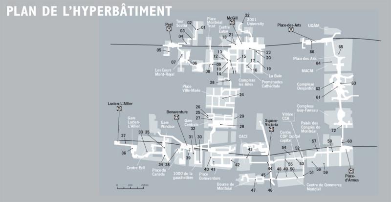 Les photographies présentées ici sont tirées d'un diaporama numérique de plus de 1500 images rendant compte des espaces et ambiances sonores traversés dans l'hyperbâtiment. Cette installation a été intégrée à la vitrine extra-muros du Centre canadien d'architecture, située dans un des corridors de la ville intérieure (voir image 52). Cette présentation de PROSPECTUS est une version adaptée de l'imprimé paru en 2004 constituant une composante de l'installation en vitrine. © SYN–