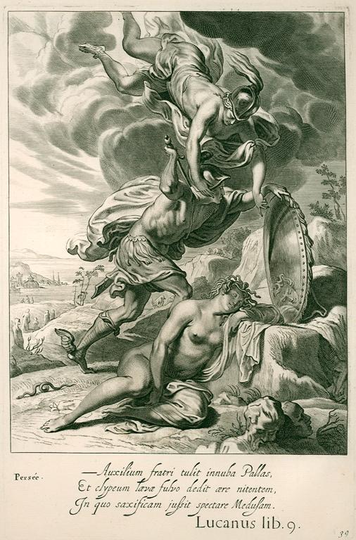 Persée décapite Méduse, gravure tirée de Tableaux du Temple des Muses, 1655. Collection de l'auteur.