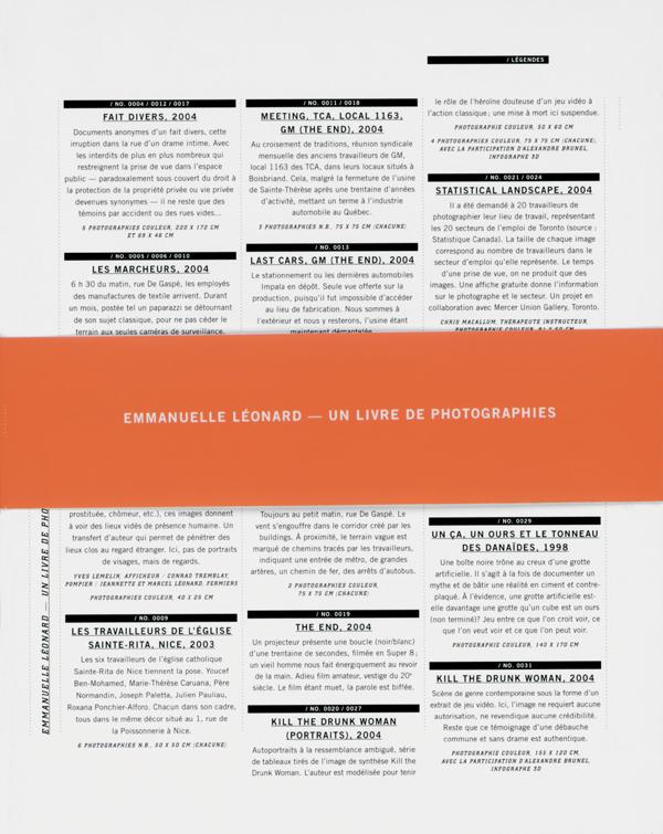 Emmanuelle Léonard : Un livre de photographies, Montréal, Occurrence, 2005