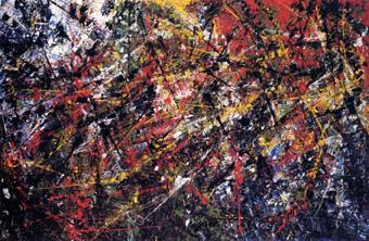 Jean-Paul Riopelle, Vent traversier, 1952, huile sur toile, 201 x 300 cm, Musée des beaux-arts de Montréal