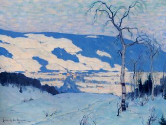 Clarence Gagnon, Crépuscule à Baie-St-Paul, c. 1920, huile sur toile. 49.9 x 65 cm, McMichael Canadian Art Collection