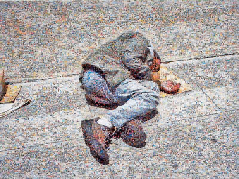 Joan Fontcuberta, Homeless, 2006, vignettes obtenues par une recherche à partir des noms des vingt-cinq personnes les plus fortunées de la planète, selon Forbes (2004) © Joan Fontcuberta