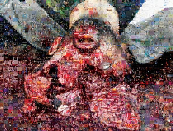 Joan Fontcuberta, Iraq, 2005 (détail), vignettes obtenues par une recherche à partir des noms des chefs d'État dont les armées ont participé à l'invasion de l'Irak en 2003 © Joan Fontcuberta. Oeuvres de la série Googlegrammes, créées avec le logiciel Photomosaic relié à la fonction recherche d'images du moteur de recherche Google. Chacune contient entre 8 000 et 10 000 vignettes trouvées sur le Web en fonction d'une recherche spécifique. Épreuves chromogéniques, 75 x 100 cm, avec l'autorisation de ArtCore Gallery, Toronto, et du centre VU, Québec.