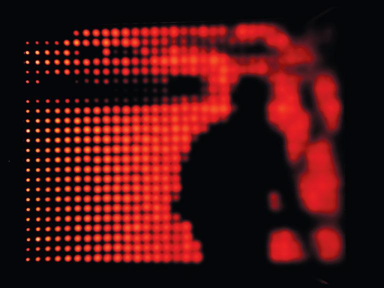 Jim Campbell, Church on 5th Street, 2001, custom electronic LEDs, 56 cm x 71 cm. © Jim Campbell