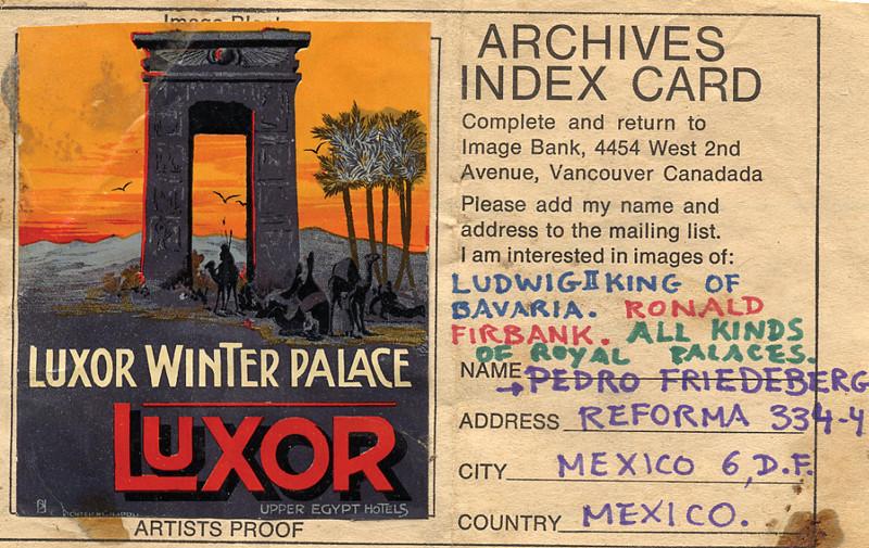 Pedro Friedeberg, Image Bank Archives Index Card, 1972, publié dans File Megazine; réponse envoyée à Image Bank, 9 cm x 12 cm. © Pedro Friedeberg