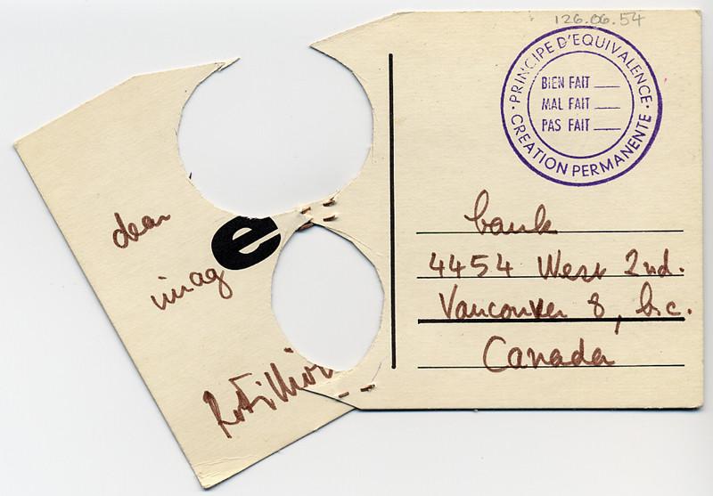Robert Filliou, Concept non conceived / concept non conçu, ca.1972 , collage (recto / front), 14 cm x 9 cm;