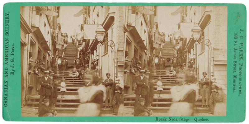 James George Parks, L'Escalier Casse-Cou, Québec, 1871-1875, 8,8 cm x17,5cm. © James George Parks