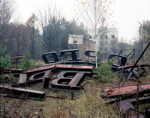 David McMillan, Roof Sign in Basketball Court, Pripyat, Ukraine 1998, from the series The Chernobyl Exclusion Zone, 1994, chromogenic print, collection of the artist. © David McMillan