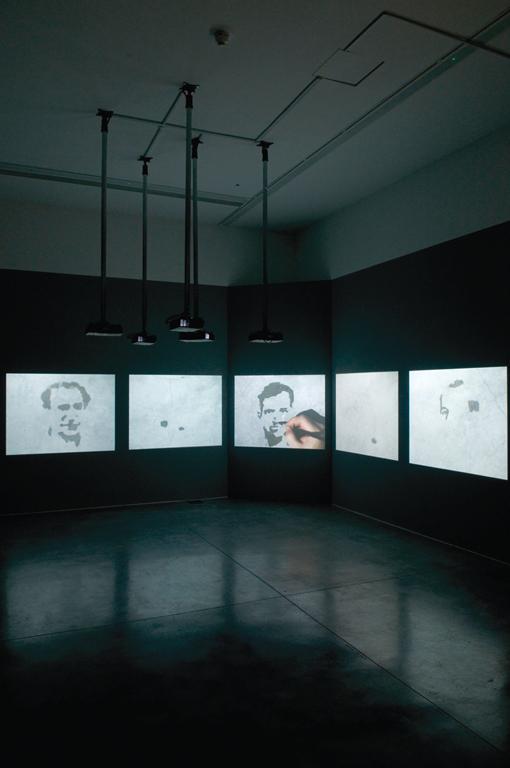 Oscar Muñoz, Aliento, (Respiration), 1996-2002 (installation view); Project for a Memorial, 2004-05, Video installation, 7:39 minutes. © Oscar Muñoz