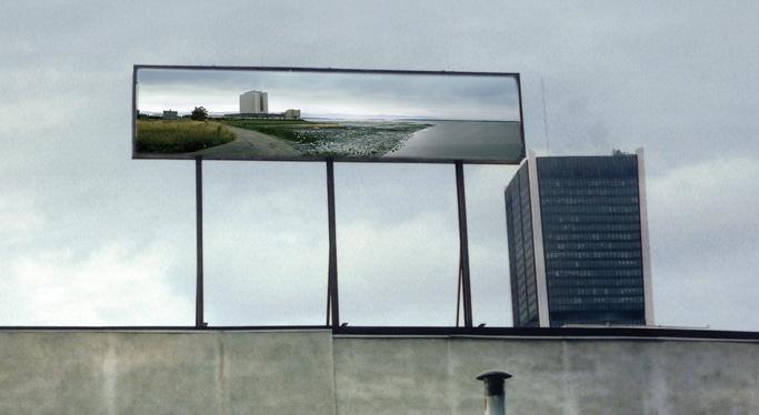 Isabelle Hayeur, Station, 2001, vue d'installation 2,13 x 9,15 m, reproduite avec l'aimable permission de Plan large. © Isabelle Hayeur