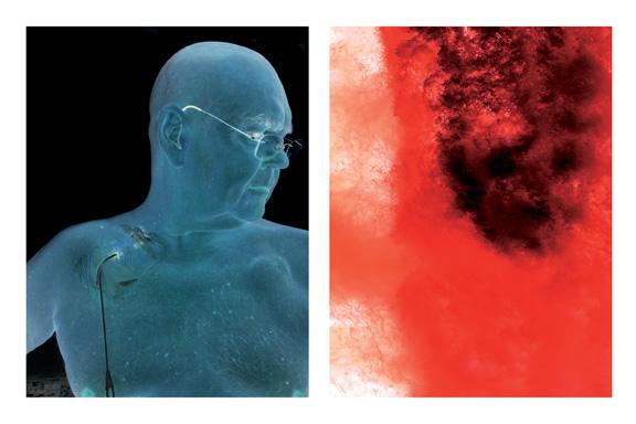 L'intimité des fluides (diptyque), 2008, de la série Les rivières de feu, épreuve au jet d'encre sur papier chiffon, 165 x 107 cm . © Reno Salvail