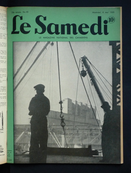 Cover / couverture, magazine Le Samedi, 6 mai 1939, 36 x 27 cm. Photo par Mark Auger.