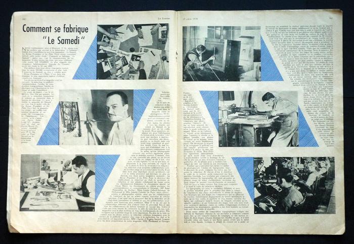 « Comment se fabrique Le Samedi », Le Samedi, 17 juin 1939, 36 x 72 cm. Photos par Conrad Poirier.
