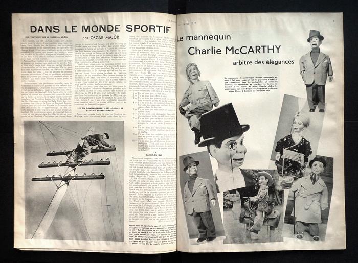 « Dans le monde sportif/Le mannequin Charlie McCarthy, arbitre des élégances », Le Samedi, 9 septembre 1939, 36 x 72 cm.