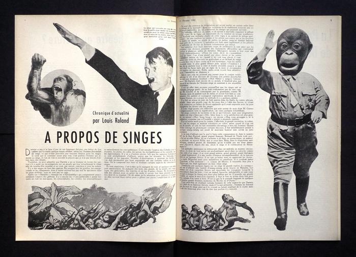 « À propos de singes », Le Samedi, 17 février 1940, 36 x 72 cm.