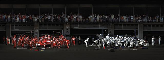Andreas Gursky, F1 Pit Stop I, 2007, épreuve chromogénique, 188 x 508 cm, avec l'aimable permission Sprüth Magers, Berlin/London. © Andreas Gursky/SODRAC (2009)
