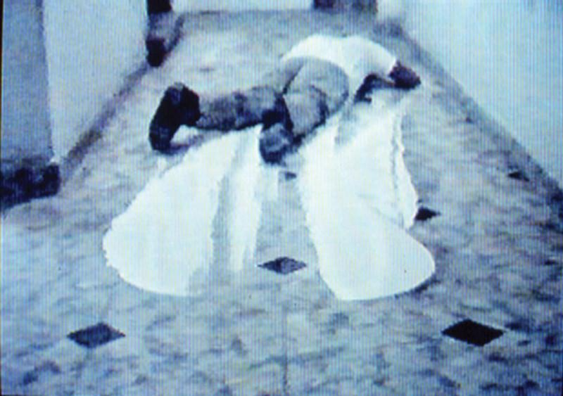 Luis Felipe Ortega & Daniel Guzmán, Remake (Paul McCarthy: Painting Face Down – White Line), 1994/2003, vidéo/video, 10 min. © Tous droits réservés