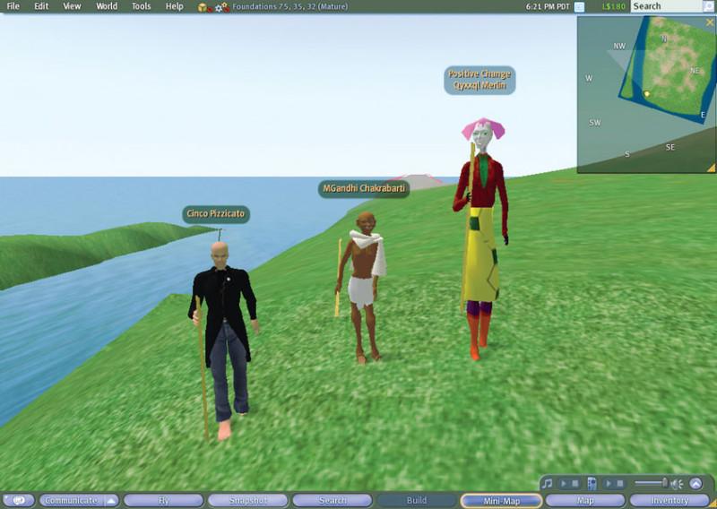 Joseph DeLappe, The Salt Satyagraha Online: Gandhi's March to Dandi in Second Life, 2008, performance, Eyebeam Art and Technology, New York & SecondLife. © Joseph DeLappe