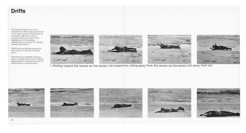 Vito Acconci, Drifts, Avalanche, no. 2 (hiver / winter 1971), p. 84-85, photo : Shunk-Kender. © Vito Acconci­