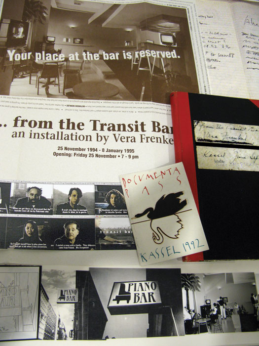 """Vera Frenkel, detail of vitrine, with documents related to the making of """"...from the Transit Bar,"""" 1992, six-channel video installation and functional piano bar, documenta IX, Kassel. © Vera Frenkel."""