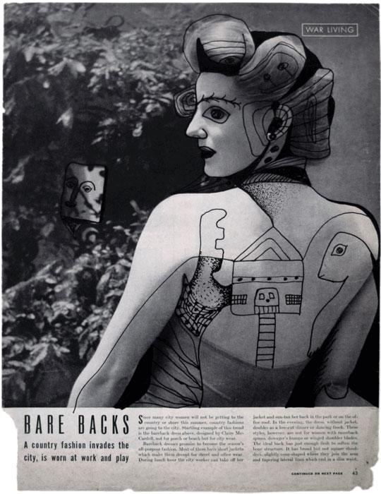 Conrad Tremblay, Sans titre ou War Living, v.1948, encre sur reproduction photomécanique / ink on photomechanical reproduction, 34,5 x 26 cm. © Conrad Tremblay