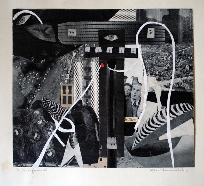 Albert Dumouchel, Le crucifiement, 1947, photocollage, 29,7 x 33,8 cm. © Albert Dumouchel