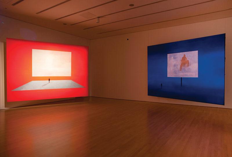 Wanda Koop, Hybrid Human series, 2010, acrylic on canvas, video projection, installation image, NGC, Ottawa, photo : William Eakin. © Wanda Koop