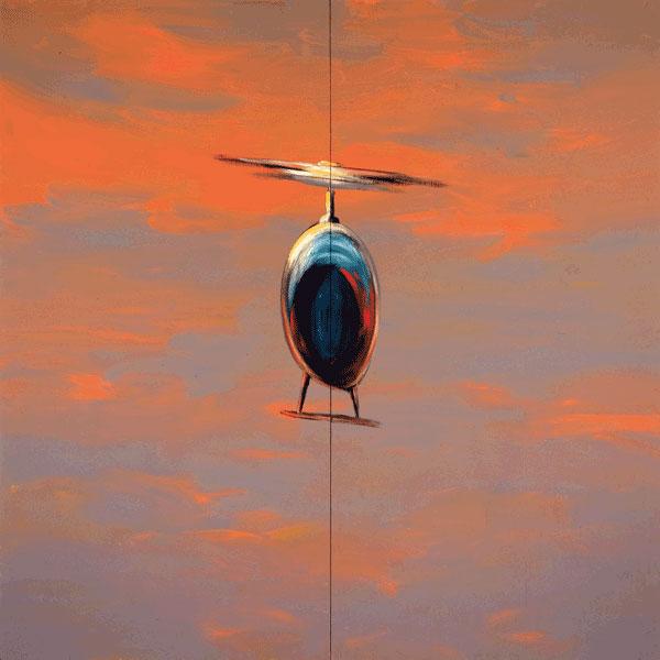 Wanda Koop, Helicopter, 1986, from the series Northern Suite, acrylic on plywood, 244 x 244 cm, coll. Winnipeg Art Gallery, photo : Bruce Spielman. © Wanda Koop