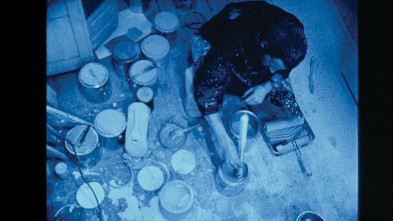 Charles Gagnon, R69 [unfinished/inachevé], 1969 – , image tirée du film (Yves Gaucher dans son studio), 16 mm, couleur, son, 53 min, transféré en format vidéo HD avec deux trames sonores par Raymond Gervais et Mary Stephen.