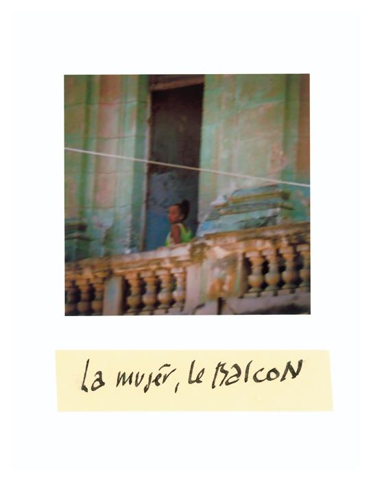 Serge Emmanuel Jongué, de la série / from the series Undressed Passion, 2000-2003, La mujer, le balcon, photographie Polaroïd + écriture / Polaroid photographs + writing, 28 x 22 cm . © Serge Emmanuel Jongué