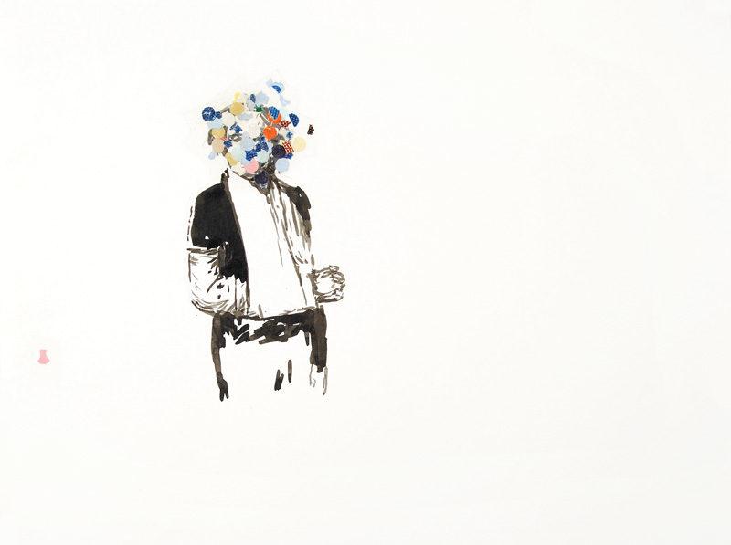 Patrice Duhamel, Sans titre, 2001, encre, confettis et ruban gommé sur papier aquarelle, 36 x 48 cm. © Patrice Duhamel