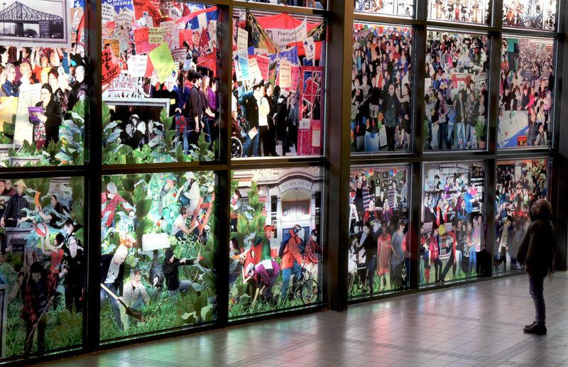 Patrick Dionne & Miki Gingras, Vue de la murale / mural view, maison de la culture Frontenac, Identité Centre-Sud, 2012, 72 m2. © Patrick Dionne & Miki Gingras