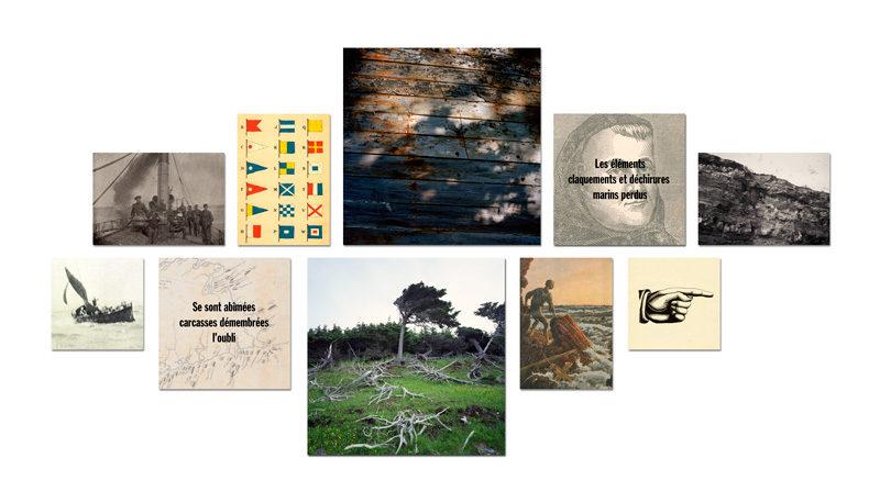 Richard Baillargeon, Anticoste, 2012, mosaïques / mosaics, 10 éléments / elements, formats divers / various formats, impressions jet d'encre / inkjet prints, 279 x 160 cm. © Richard Baillargeon