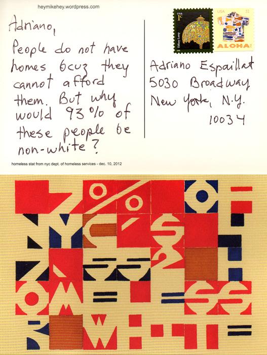 Karen Elaine Spencer, mike! la pobreza es hermano del racismo, 2013, cartes postales / postcards, 13 x 21 cm. © Karen Elaine Spencer