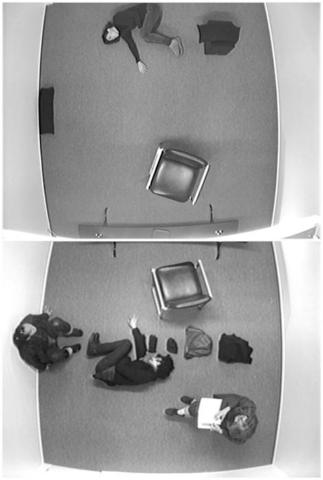 Sebastien Cliche, La doublure, 2012, vue de l'installation performative, Galerie de l'UQAM, performeuse: Anne-Flore de Rochambeau, photo: Louis-Philippe Côté; images tirées de caméras de surveillances, Galerie de l'UQAM