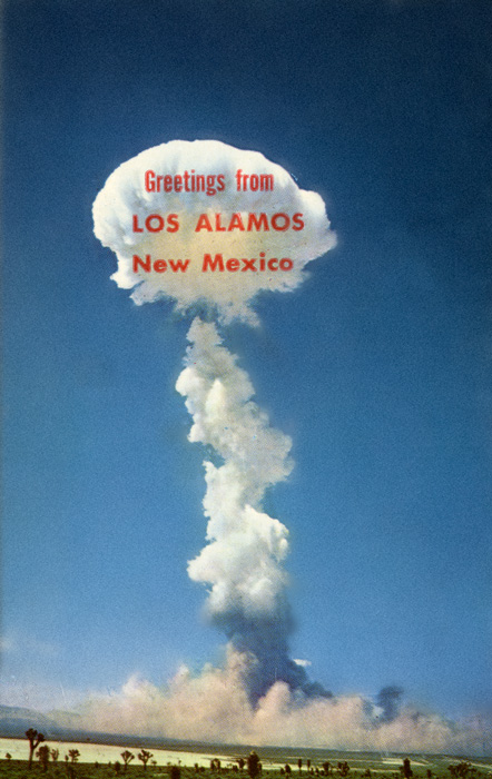 """An atomic explosion recently conducted by the U.S. Atomic Energy Commission, Mirro- Krome postcard, Bob Petley : Phoenix, Arizona, before 1955, Based on a U.S. Army photograph. Presented by John O'Brian, in """"Camera Atomica: A Case Study in Nuclear Photography """", March 11, 2008"""