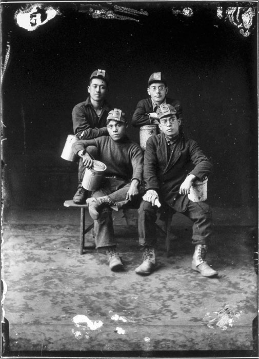"""Four Japanese Miners, c. 1910, Hayashi Studio Collection, Cumberland Museum, Cumberland, British Columbia Presented by Rosemary Donegan, in """"Industrial Photography: From the Vernacular to the New Monumentalism """", January 22, 2008"""
