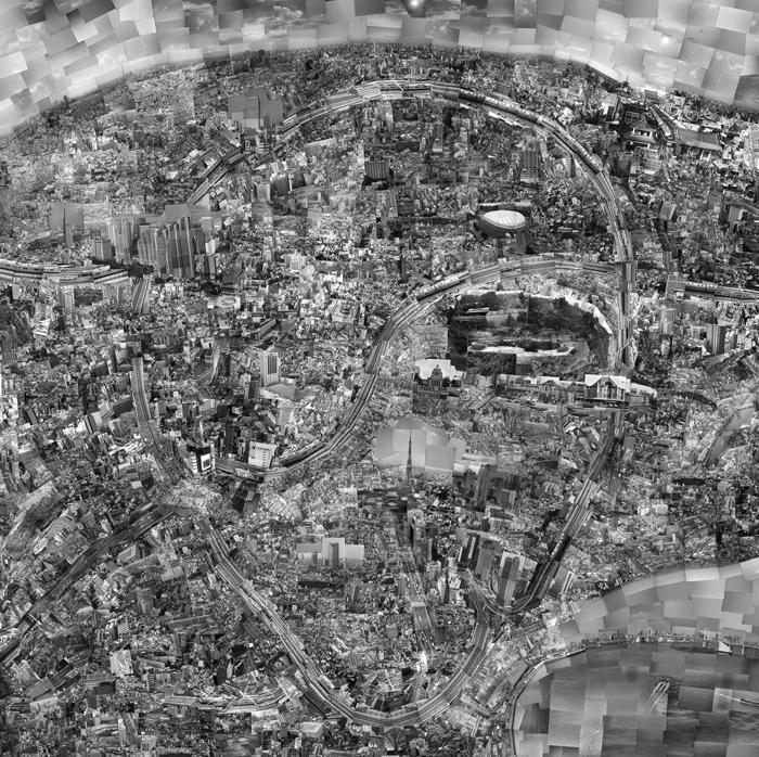Sohei Nishino, Diorama Map Tokyo, 2004, 140 x 140 cm, courtesy of / permission de Michael Hoppen Contemporary