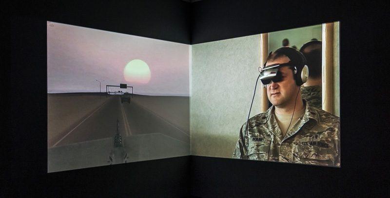 Harun Farocki, Serious Games IV: A Sun With No Shadow, 2010, two-channel video, 8 min, photo: Toni Hafkenscheid, courtesy of Harun Farocki Filmproduktion and the Justina M. Barnicke Gallery