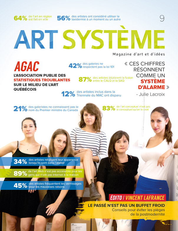 Art Système, 2014, excerpts from a series of thirty-two magazine covers , 28 x 21 cm.