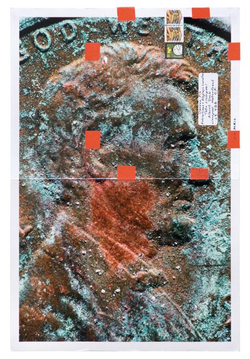 Moyra Davey, from the series / de la série Copperheads 101-200, 2013 chromogenic prints, tape, postage, ink / épreuves chromogènes, ruban, timbres-poste, encre, 61 × 46 cm