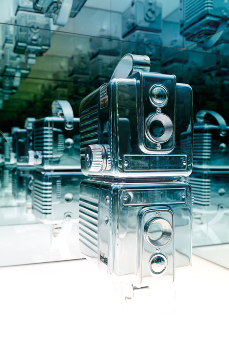Andrew Wright, Disused Twin Brownie Hawkeye Cameras, 2015, s ilvered objects, custom plinth
