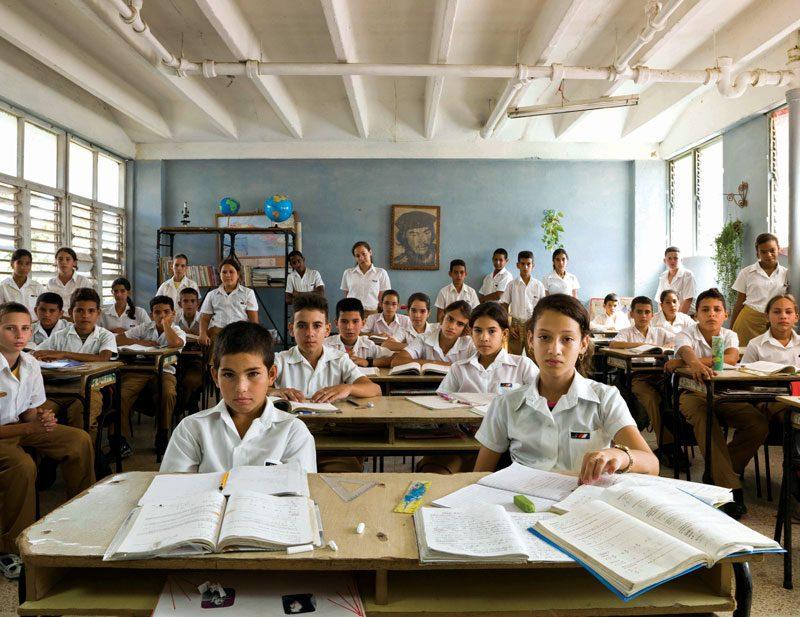 Escuela Secondaria Básica Osvaldo Herrera González, San Fernando de Camarones, Municipio Palmira, Cuba. Year 7, Maths, December 7th, 2011, from the series / de la série The Future Is Ours, Classroom Portraits, 2004–2015