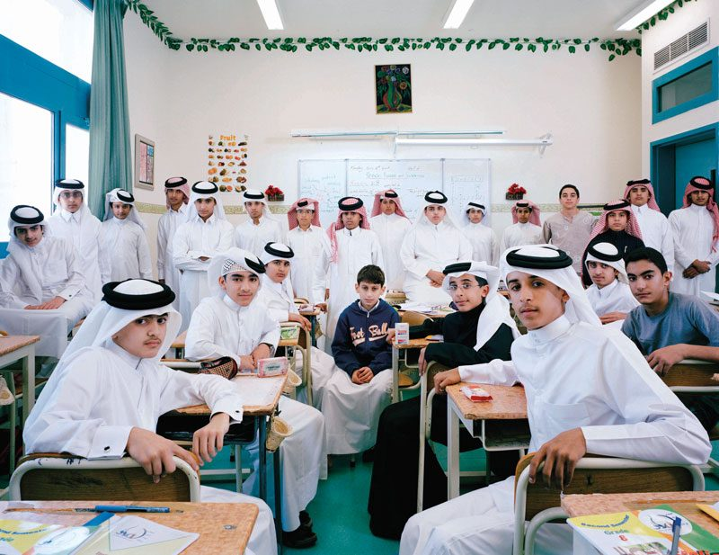 Omar Bin Al-khattab Educational Complex, Boys' Preparatory School, Doha, Qatar. Grade 8, English, March 12th, 2007, from the series / de la série The Future Is Ours, Classroom Portraits, 2004–2015