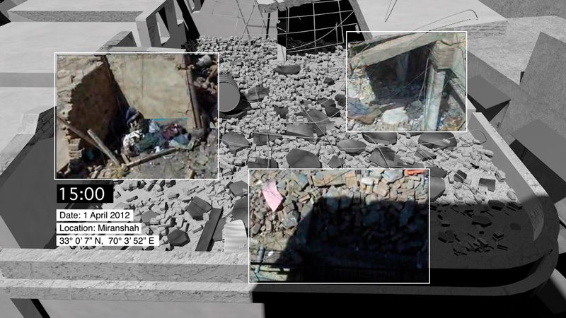 Photogramme extrait de Decoding Video Testimony, Miranshah, Pakistan, 30 mars 2012, © Forensic Architecture en collaboration avec SITU Research