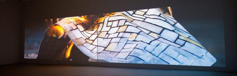 Marie-Claire Blais et Pascal Grandmaison, La vie abstraite 2 : espace du silence, 2016, 4 projections vidéo synchronisées, 6 m ch., 30 min, photos : Pascal Grandmaison, permission de la Galerie René Blouin