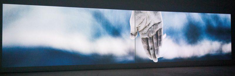 Marie-Claire Blais et Pascal Grandmaison, La vie abstraite 1 : le temps transformé, 2015, 2 projections vidéo synchronisées, 6 m ch., 30 min, photos : Pascal Grandmaison, permission de la Galerie René Blouin