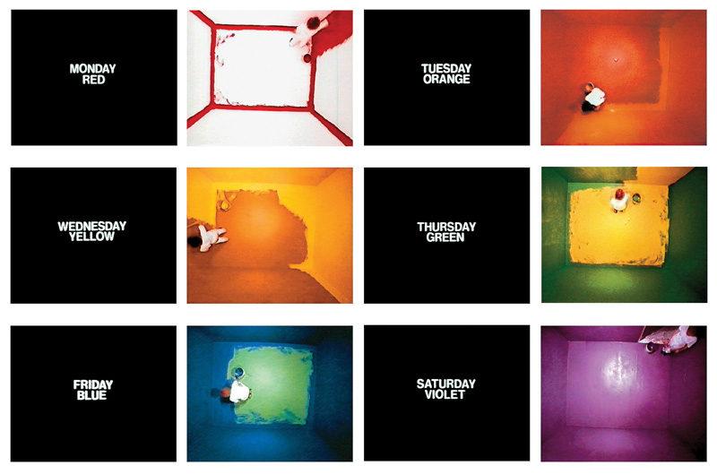 John Baldessari, Six Colorful Inside Jobs, 1977, video stills, 16 mm color film transferred to video, 32 min. and 53 sec., courtesy of the Marian Goodman Gallery, New York and Paris, © John Baldessari