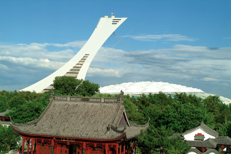 Robert Walker, Olympic Stadium viewed from the Chinese Garden, Botanical Garden, 2004